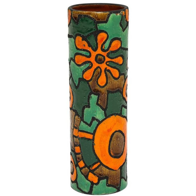 Raymor Ceramic Vase Alvino Bagni Orange Green Flower Signed, Italy, 1960s