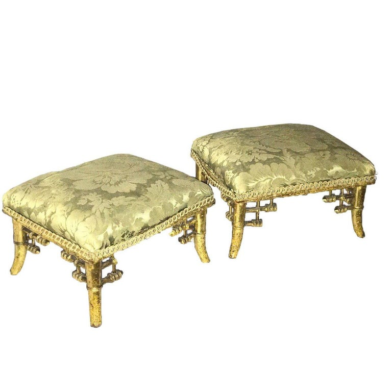 Pair of Regency Gilt Faux Bamboo Footstools in the Manner of Brighton Pavilion
