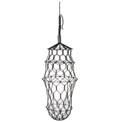 21st Century Contemporary Design, Macramé Minimal Lucille Flower Cocoon in Black