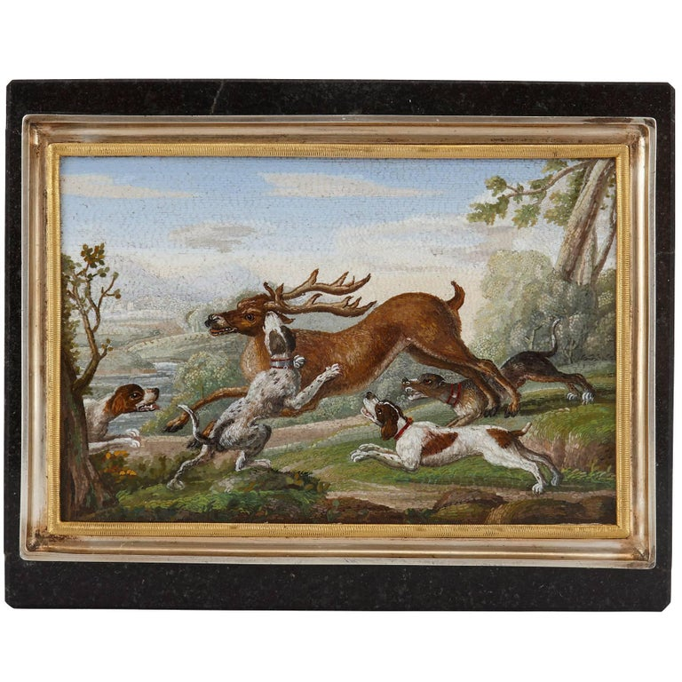 Antique Silver Gilt Mounted Italian Hunting Scene Micromosaic Snuff Box For Sale