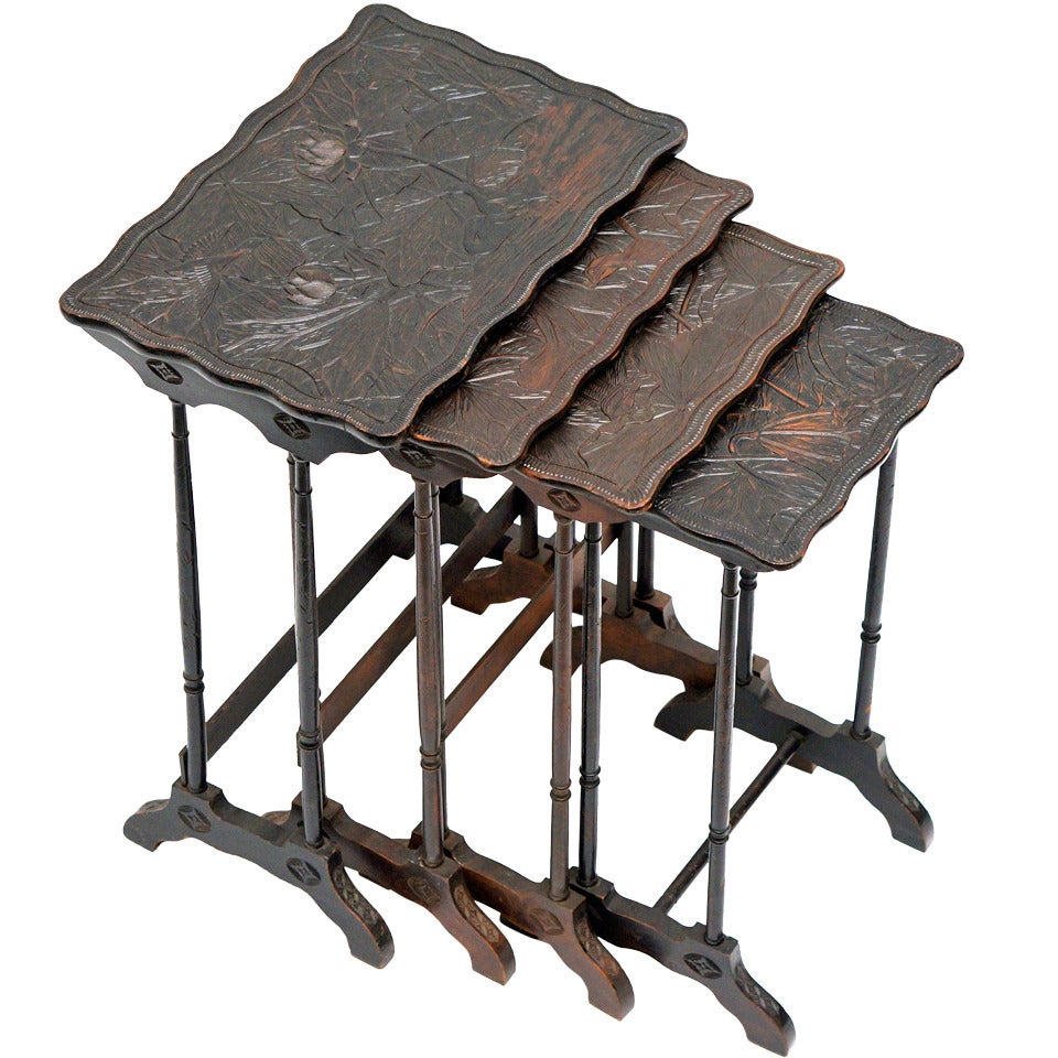 Set of Four French Art Nouveau Nesting Tables