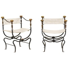 Pair of Italian Curule Savonarola Chairs from the Early 20th Century