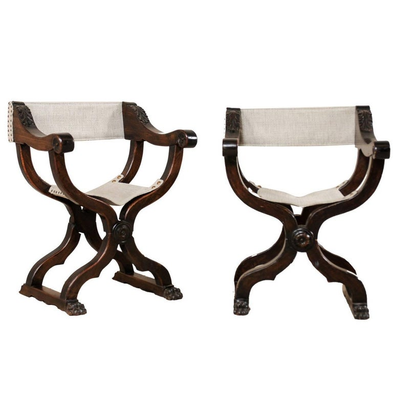 Pair of Italian X-Framed Dante Style Chairs in Rich Wood, Upholstered in Linen