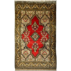 Silk Rug Red Green Beige Black Hand-Knotted Vintage Carpet