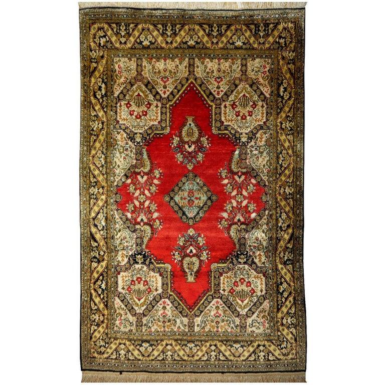 Persian Rug Qum Qom Silk Red Green Beige Black Hand-Knotted Vintage Carpet 1