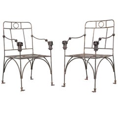 Pair of Custom Wrought Iron Armchairs in the Manner of Diego Giacometti