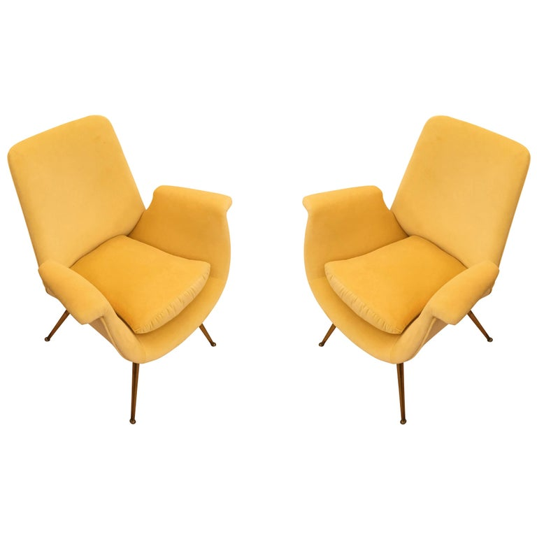 Pair of Canary Velvet Armchairs, Italy, 1960s