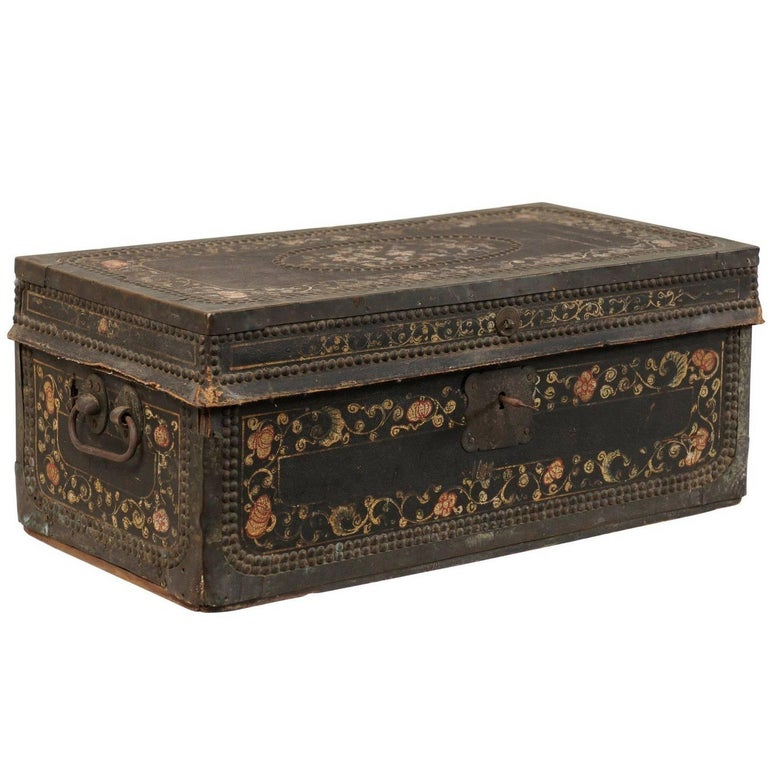 19th Century Chinese Camphor Wood and Leather Trunk with Hand-Painted Flowers