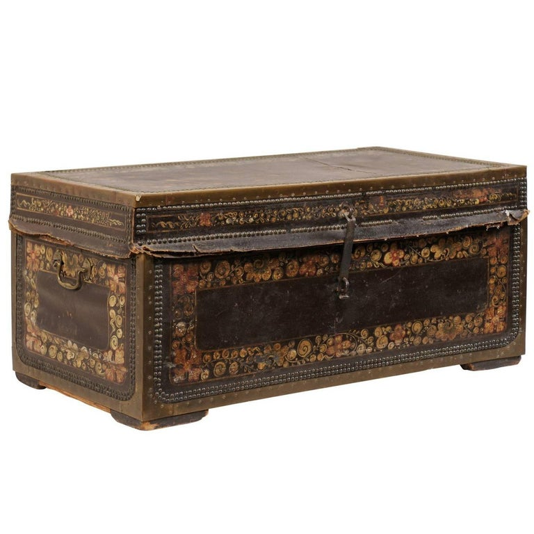 19th Century Chinese Wood and Hand Painted Leather Trunk with Nail Head Accents