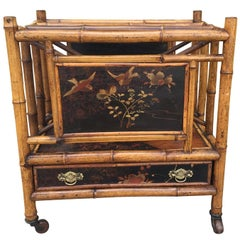 19th Century English Bamboo and Lacquer Canterbury