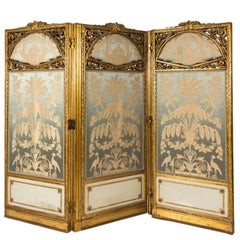 French Three-Panel Giltwood Dressing Screen