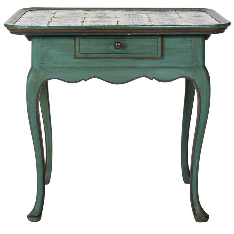 Early 20th Century Danish Blue Painted Tile Top-Top Table