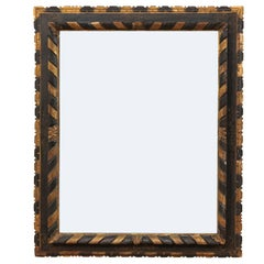 19th Century Italian Carved and Hand-Painted Mirror in Black with Gold Detail