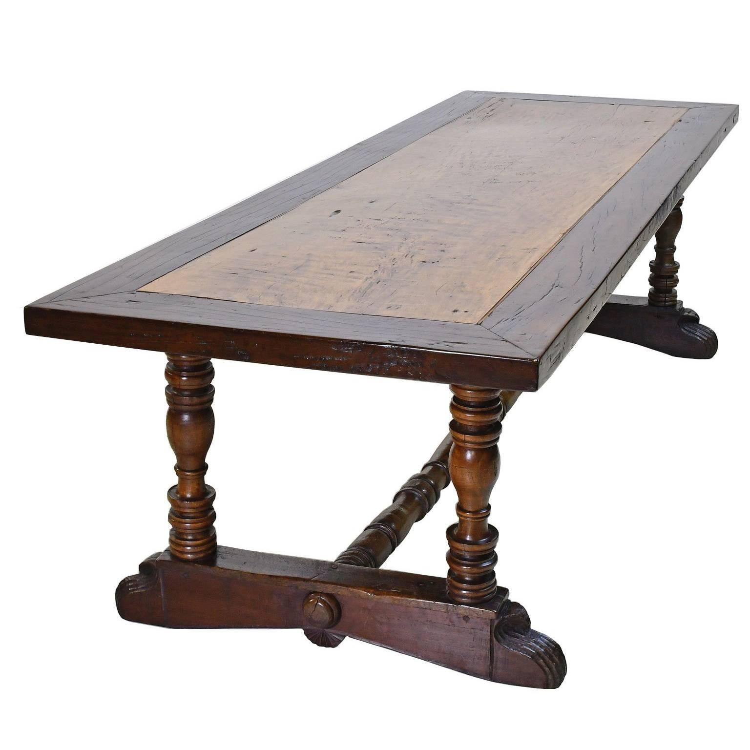 18th Century Long Spanish Colonial Dining Table With Carved Trestle Base