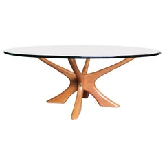Modern Round Illum Wikkelsø Glass Top and Teak Coffee Table