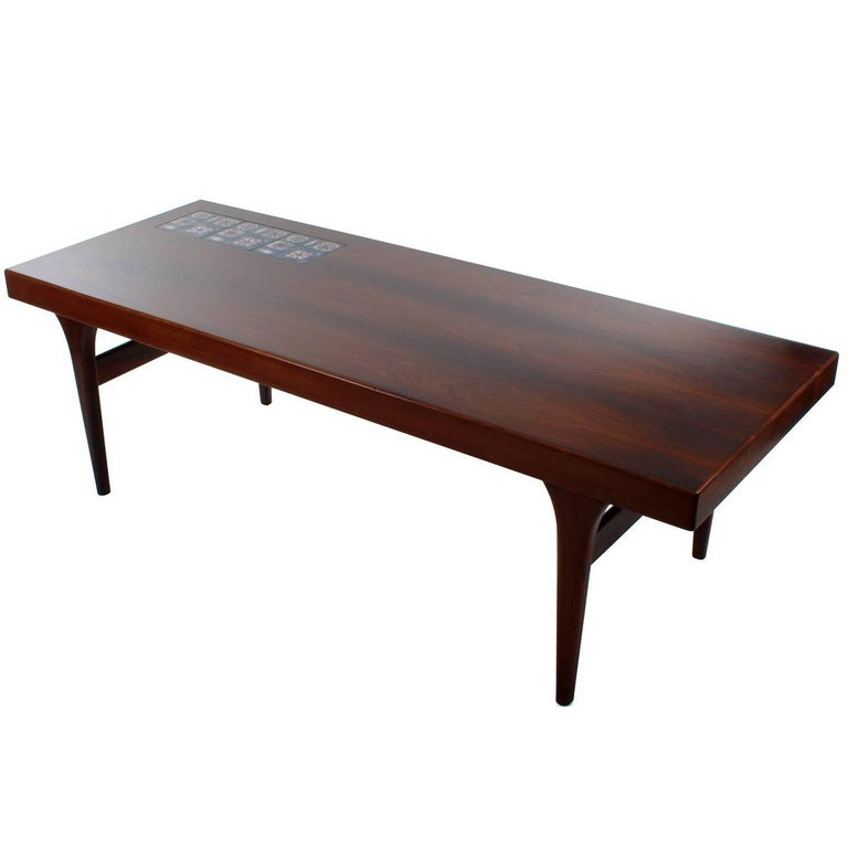 Rosewood Coffee Table with Tiles by Johannes Andersen, CFC Silkeborg, 1960s For Sale
