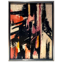 1960s Abstract Watercolor Painting in Black, Red and Yellow on Handmade Paper