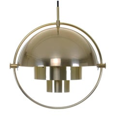 Multi-Lite Brass Pendant by Louis Weisdorf for Lyfa in 1974, Vintage Edition!