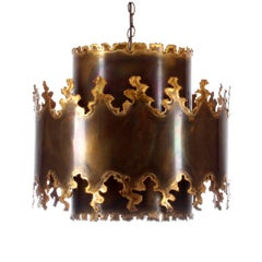 Type 6399 Pendant by Holm Sorensen, Rare 1960s Very Special Eclectic Brass Lamp