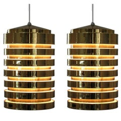 Pair of Pendants T487 in Brass by Hans-Agne Jakobsson