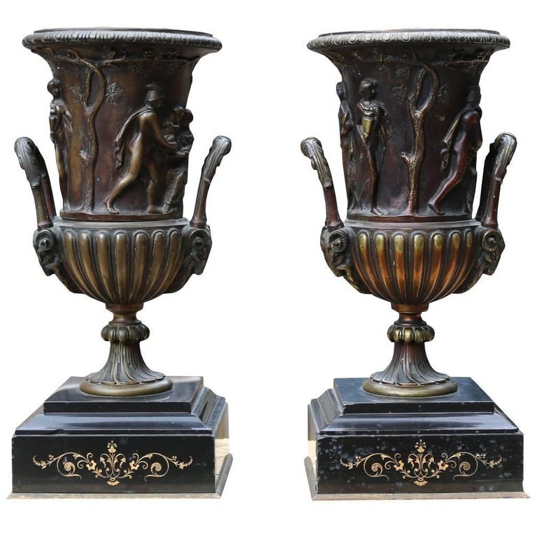 Pair of Late 19th Century Decorative French Bronze Urns For Sale