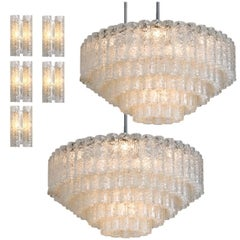 Set of Huge Doria Giant Ballroom Light Fixtures, 2 Chandeliers and 5 Wall Scones