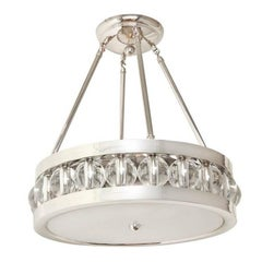 Nickel Tambour Pendant Fixture with Rods