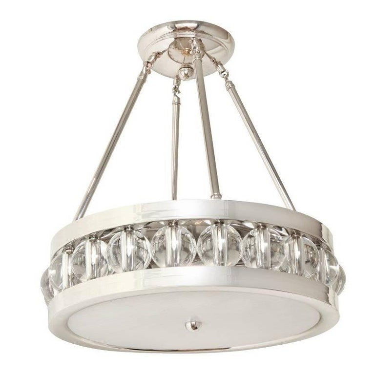 "A 20.25"" Nickel Tambour Pendant Fixture with Rods"