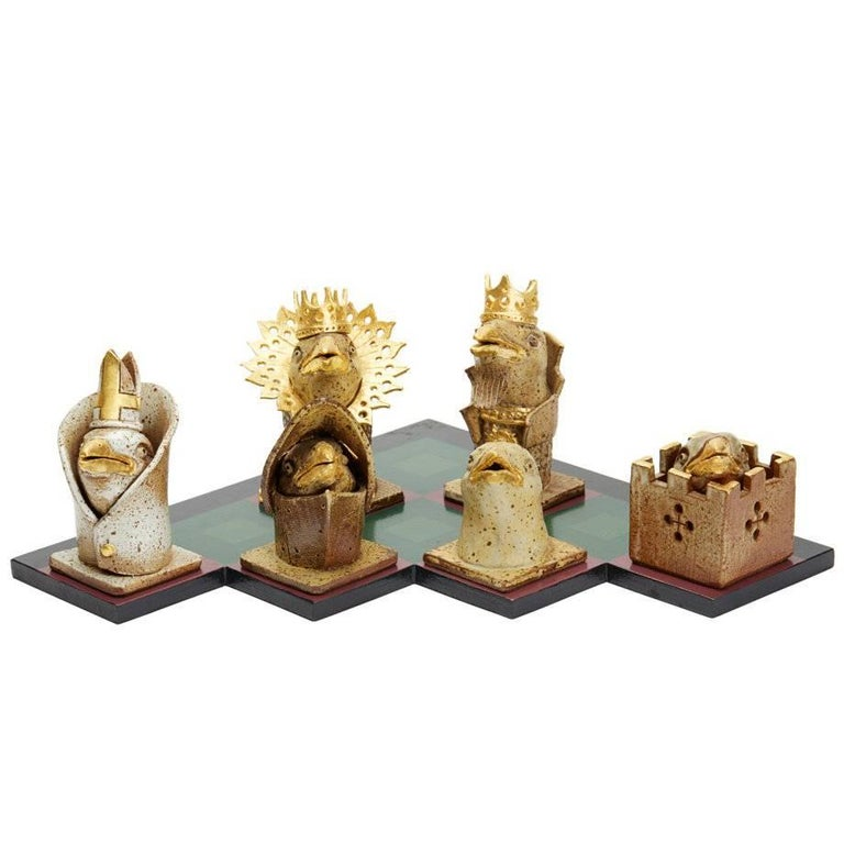 Kenneth Breeze Studio Pottery Chess Sculpture Installation For Sale