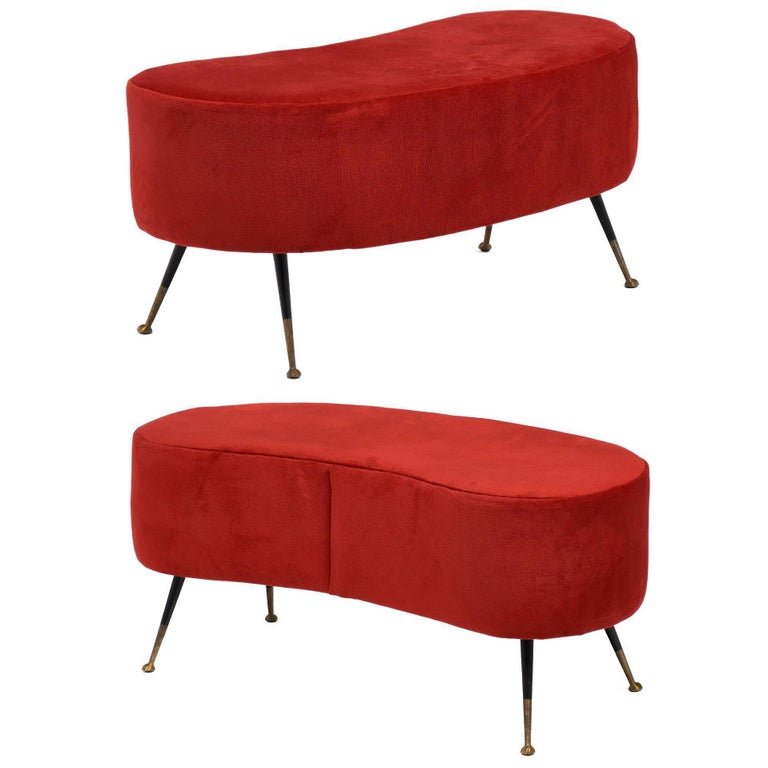 Carlo de Carli Style Cherry-Red Vintage Benches