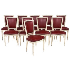 Ten Louis XVI Style Red Dining Chairs
