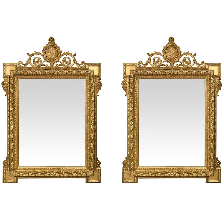 Large-Scale Pair of French 19th Century Louis XVI Style Giltwood Mirrors