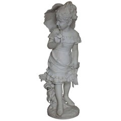 "Italian 19th Century Carrara Marble Figure ""La Villeggiatura"" Girl with Parasol"