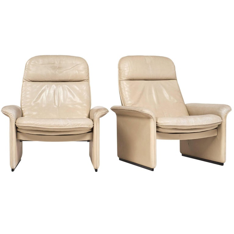 De Sede Cream Leather Armchairs For Sale