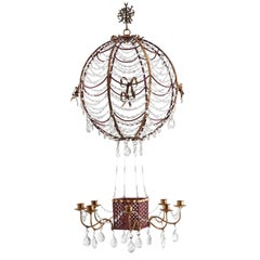 "French Crystal Drop and Painted Tole ""Montgolfier"" Style Chandelier, circa 1940"