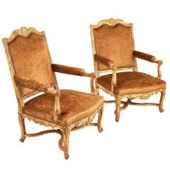 Pair of Large French Giltwood Regence Style Armchairs, circa 1860