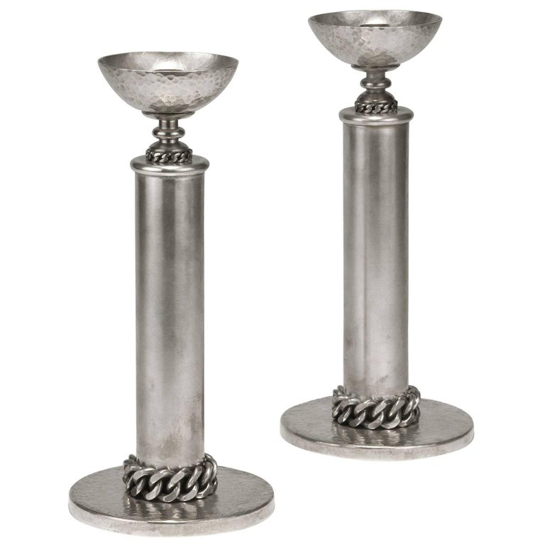 Beautiful Pair of Candleholders by Jean Despres