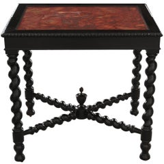 Italian 19th Century Ebony Table with Scagliola Top