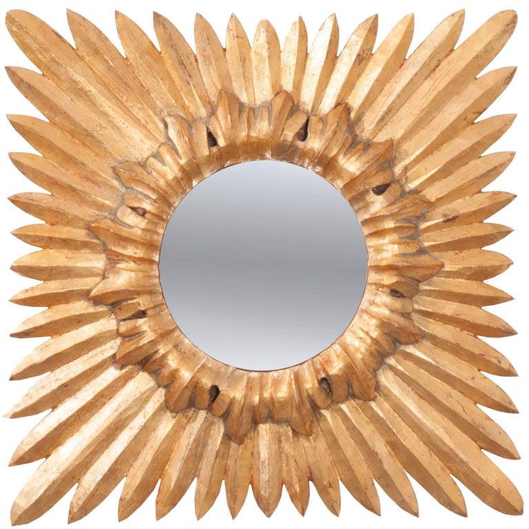 French 19th Century Square Starburst Mirror