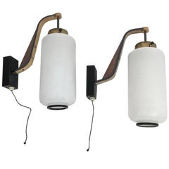 Italian Sconces Pair of Opaline Glass, Teak and Enamelled Brass Stilnovo, 1950s