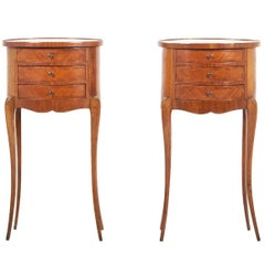 Pair of French Oval Nightstands