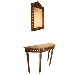 Charming, Carved French Gilt Console or Hall Table with Matching Mirror