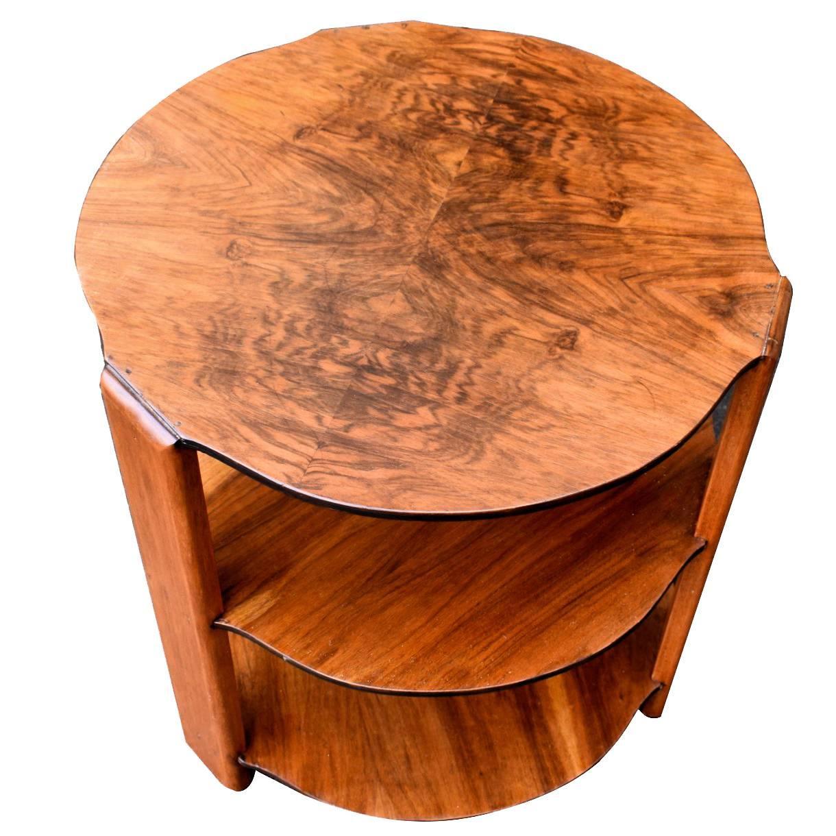 English 1930s Art Deco Tiered Walnut Coffee Table