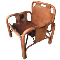 Italian Mid-Century Modern Bamboo and Leather Lounge Chair by Bonacina