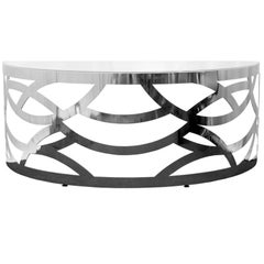 "Contemporary Laser Cut Stainless Steel Desk with Glass Top ""Scrivania Scultura"""