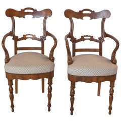 Pair of Italian Walnut Armchairs, circa 1830