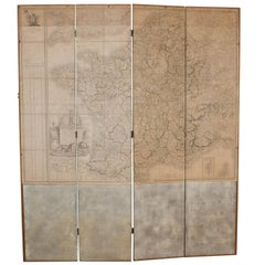 Large Map of France Mounted on a Screen, circa 1810