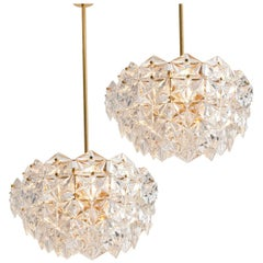 Pair of Kinkeldey Faceted Crystal and Gilt Metal Chandeliers, Germany, 1970s