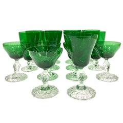 60'S Set/14 Emerald Green and Clear Footed Stem Drink Glasses,