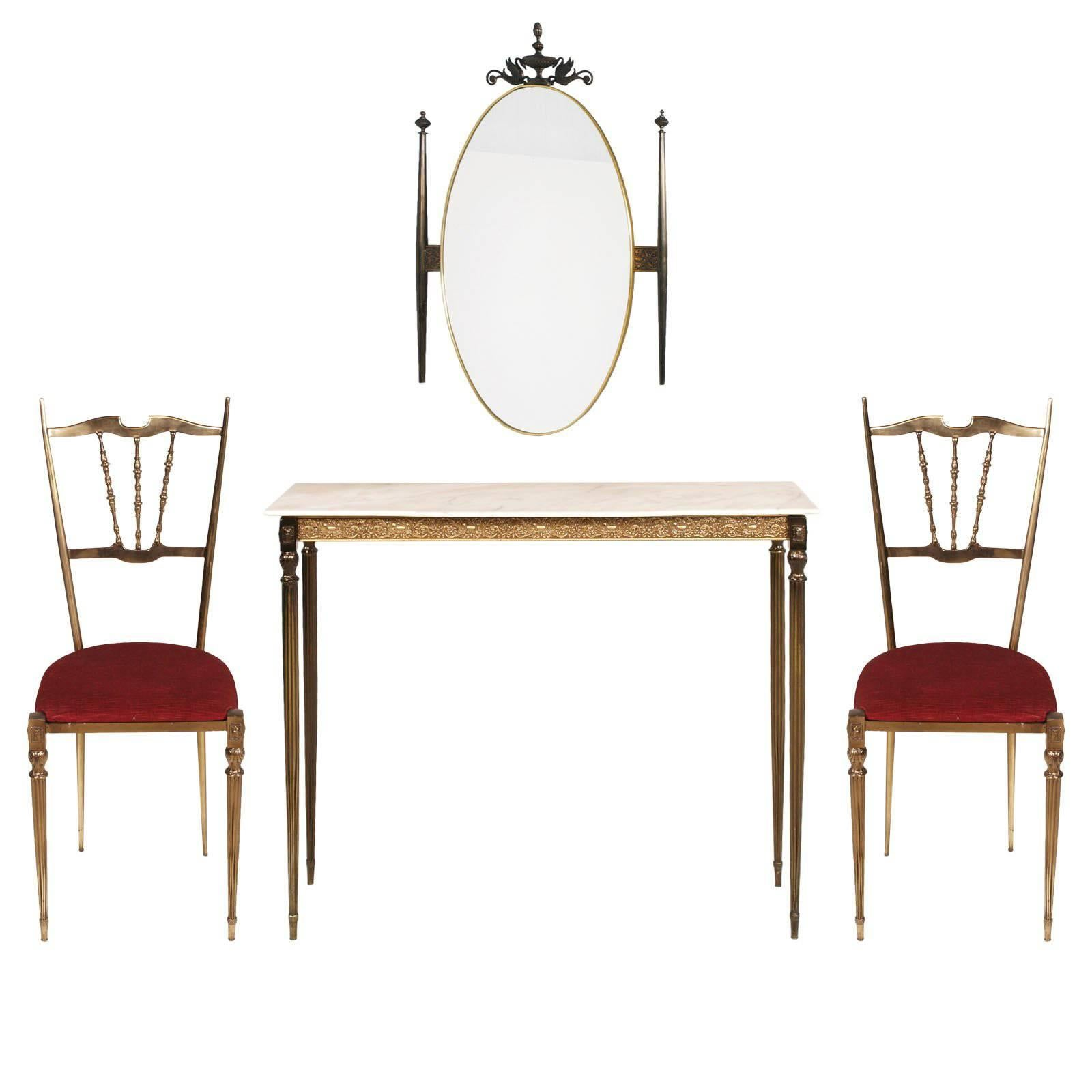 1930s Italy Art Nouveau Brass Console, wall Mirror & side Chairs Gio Ponti Style